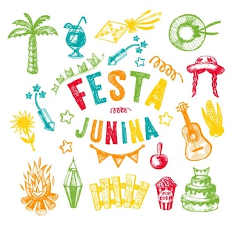 Ręcznie rysowane elementy festa junina wsi festiwalu