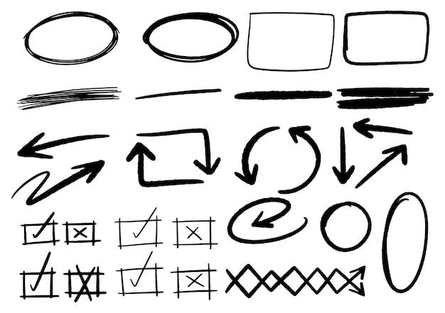 Ręcznie rysowane elementy graficzne projektu doodle. ręcznie rysowane strzałki okręgi i streszczenie doodle pisanie projektu. białe tło.