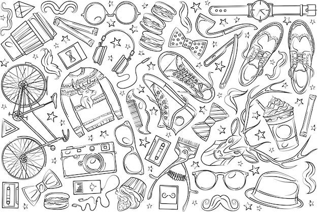 Ręcznie rysowane elementy hipster i ubrania doodle.