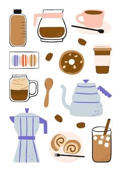 Ręcznie rysowane elementy kawy, kawiarniane jedzenie i ekspres do kawy ilustracja kreskówka