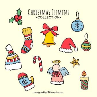 Ręcznie rysowane elementy kolekcji boże narodzenie