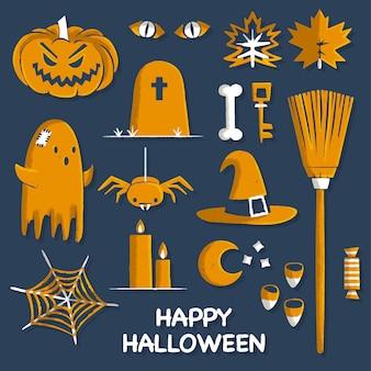Ręcznie rysowane elementy kolekcji halloween