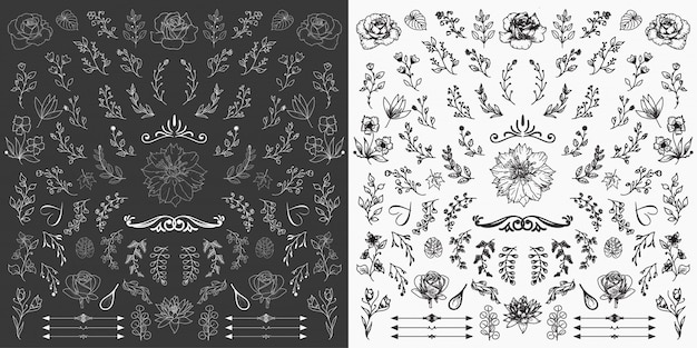 Ręcznie rysowane elementy kwiatowe projekt wektor