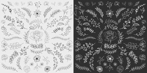 Ręcznie rysowane elementy kwiatowe wektor