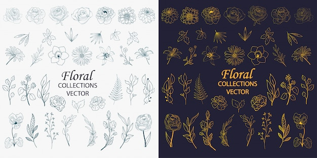 Ręcznie rysowane elementy kwiatowe