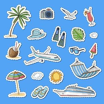Ręcznie rysowane elementy letnich podróży zestaw naklejek