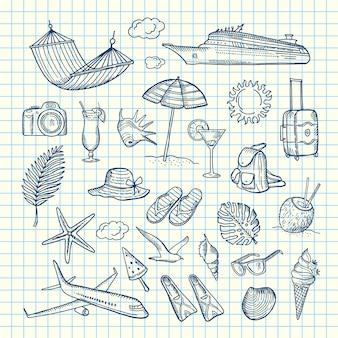 Ręcznie rysowane elementy letnich podróży
