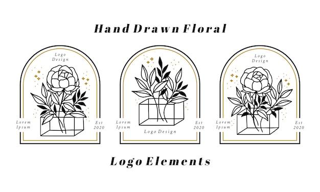 Ręcznie rysowane elementy logo kobiecego piękna z gałąź kwiat piwonii i liść