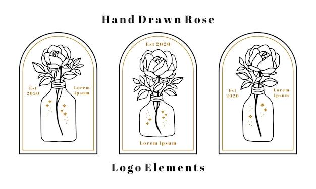 Ręcznie rysowane elementy logo kobiecego piękna z kwiatem róży, gałęzią liści i butelką