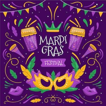 Ręcznie rysowane elementy mardi gras