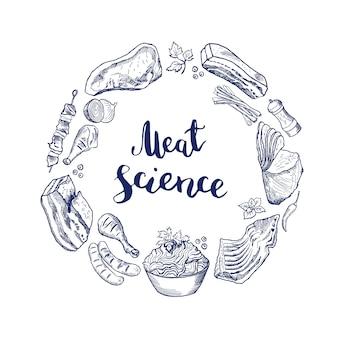 Ręcznie rysowane elementy mięsne zebrane w okrąg wokół napisu