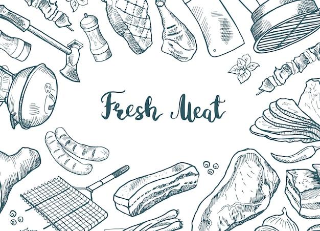 Ręcznie rysowane elementy mięsne zebrane wokół napisu