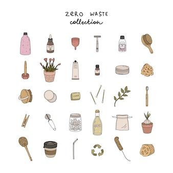 Ręcznie rysowane elementy o zerowej żywotności odpadów. styl ekologiczny. bez plastiku. zzielenieć.