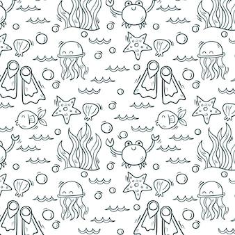 Ręcznie rysowane elementy oceanu wzór