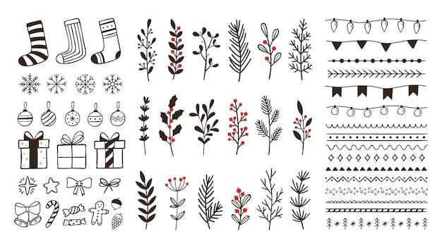 Ręcznie rysowane elementy ozdobne zimowe. doodle świąteczny płatek śniegu, kwiatowe gałęzie i ozdobne obramowania