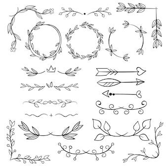 Ręcznie rysowane elementy ozdobne