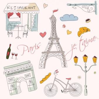 Ręcznie rysowane elementy paris