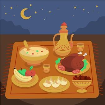 Ręcznie rysowane elementy posiłku iftar