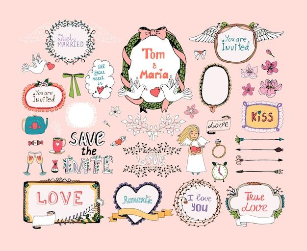 Ręcznie rysowane elementy projektu do wystroju zaproszenia ślubne. rama, wieńce, symbole ślubne.