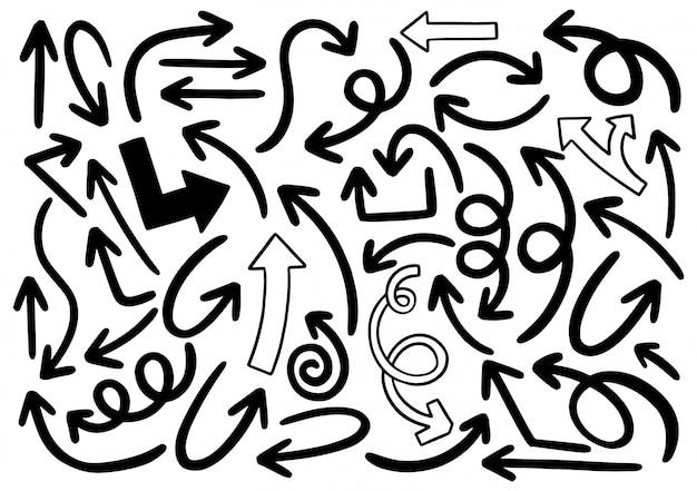 Ręcznie rysowane elementy projektu doodle. ręcznie rysowane strzałki, ramki, obramowania, ikony i symbole.