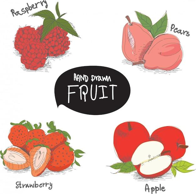 Ręcznie rysowane elementy projektu owoców