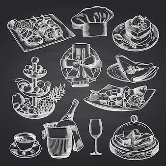 Ręcznie rysowane elementy restauracji lub room service na czarnej tablicy.