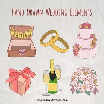 Ręcznie rysowane elementy ślubne w kolorach