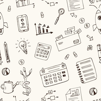 Ręcznie rysowane elementy startowe doodle wzór