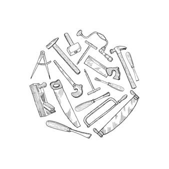 Ręcznie rysowane elementy stolarskie ilustracja