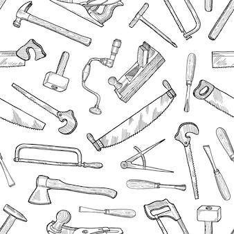 Ręcznie rysowane elementy stolarskie wzór lub tła