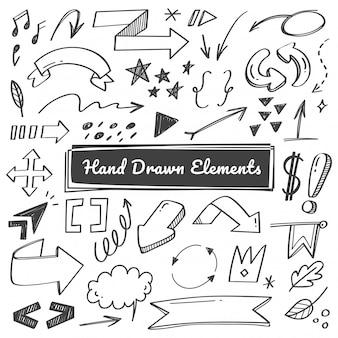 Ręcznie rysowane elementy, strzałka, swish gryzmoły