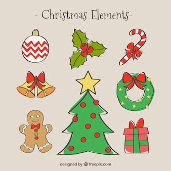 Ręcznie rysowane elementy świąt