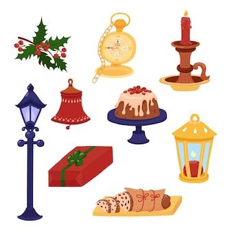 Ręcznie rysowane elementy świąteczne w jasnych kolorach oglądaj ciasta prezentowe ostrokrzewu i świecę