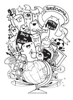 Ręcznie rysowane elementy szkolne