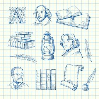 Ręcznie rysowane elementy teatru ustawione na ilustracji arkusza niebieskiej komórki