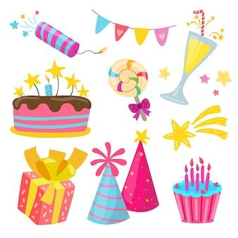 Ręcznie rysowane elementy urodzinowe