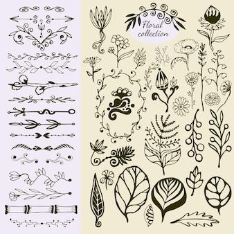 Ręcznie rysowane elementy vintage kwiatowy