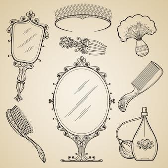 Ręcznie rysowane elementy vintage piękna i retro makijaż. moda doodle i szkic lustro. vintage uroda retro makijaż wektorowe ikony