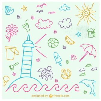 Ręcznie rysowane elementy wakacje na plaży