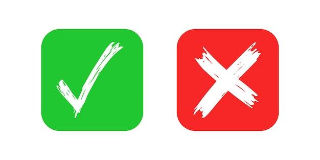 Ręcznie rysowane elementy wyboru i krzyż znak na białym tle. grunge doodle zielony znacznik wyboru ok i czerwony x na zaokrąglone kwadratowe ikony. ilustracja wektorowa