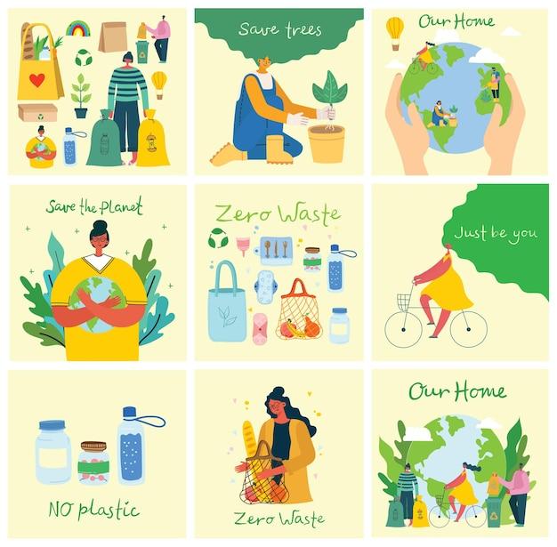 Ręcznie rysowane elementy zerowego życia w wektorze. styl ekologiczny. bez plastiku. idź na zielono w stylu mieszkania