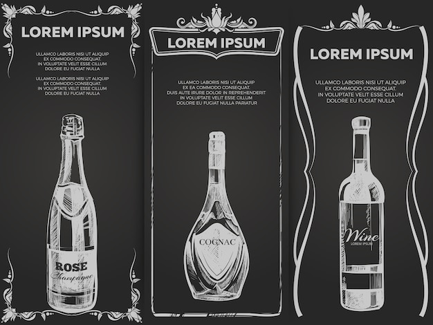 Ręcznie rysowane elite alkoholu napoje banery szablon