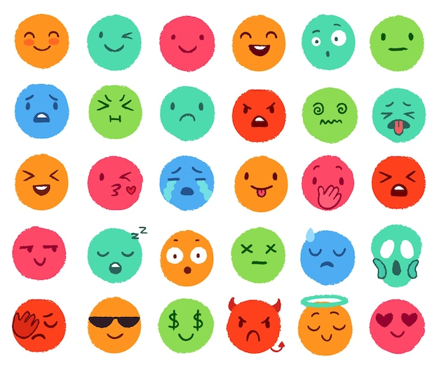 Ręcznie rysowane emoji kolorów