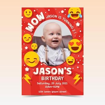 Ręcznie Rysowane Emoji Urodziny Zaproszenie Ze Zdjęciem Darmowych Wektorów