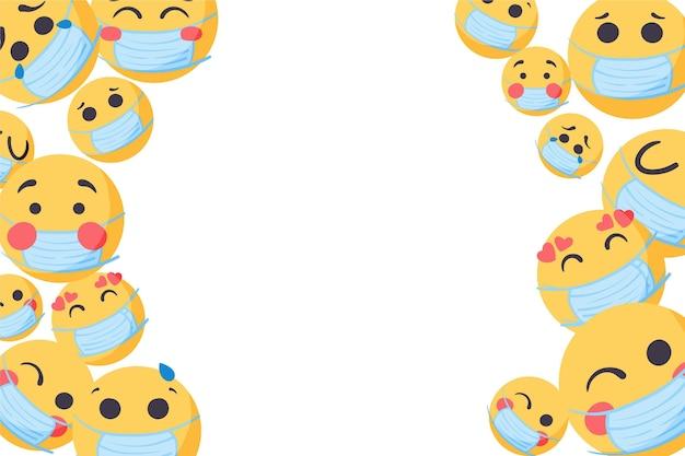 Ręcznie rysowane emoji z tapetą z maską na twarz