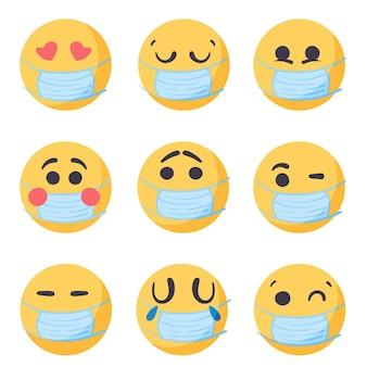 Ręcznie rysowane emotikony z maską na twarz