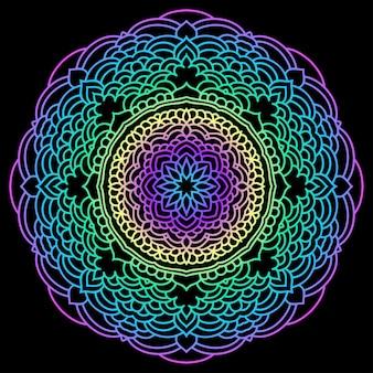 Ręcznie rysowane etniczne streszczenie gradientowe kolorowe mandali