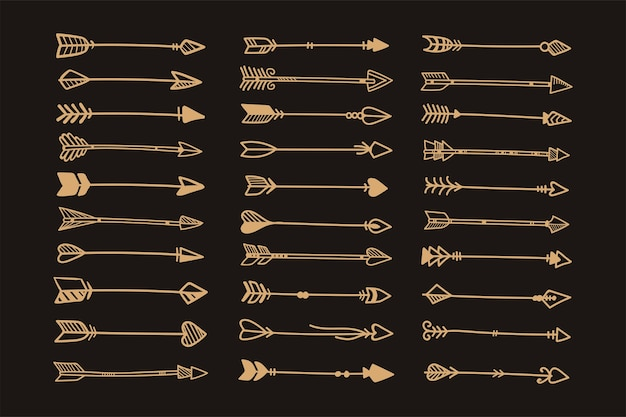 Ręcznie rysowane etniczne strzałki w stylu boho