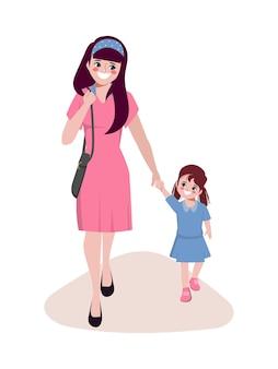 Ręcznie rysowane etykiety dzień matki z postacią córki