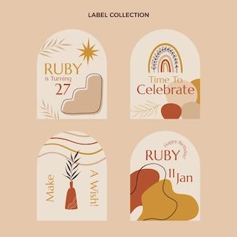 Ręcznie rysowane etykiety i odznaki urodzinowe boho